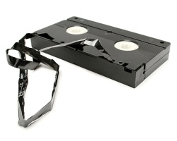 A videocassette having a bad day.