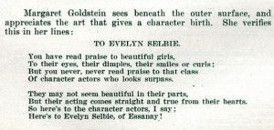 To Evelyn Selbie
